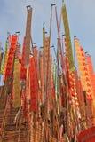 装饰竹五颜六色的标志多彩多姿的新的信号旗songkran特殊泰国塔年 免版税库存图片