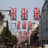 装饰第60或第75周年纪念牛津女王/王后s街道 免版税库存图片