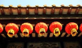 装饰繁体中文灯笼,减速火箭的朱红色的灯笼,葡萄酒东亚灯笼 库存图片