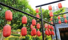 装饰繁体中文灯笼,红色中文报纸灯笼,葡萄酒东亚灯笼 免版税库存照片