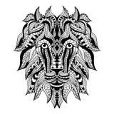 装饰纹身花刺狮子头 免版税库存图片