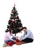 装饰结构树的圣诞节 免版税库存照片