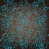 装饰绿松石花,棕色背景 免版税库存图片