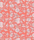 装饰美好的珊瑚与牡丹的颜色古色古香的花卉无缝的样式 打印的亚洲纹理在包装,纺织品, 皇族释放例证