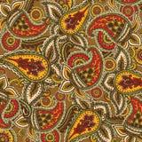 装饰背景手拉的无刺指甲花Mehndi摘要坛场花和佩兹利乱画 库存照片