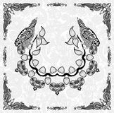 装饰花卉和鸟框架设计 库存图片