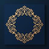 装饰花卉模式 金优美的框架 导航企业标志,旅馆的,餐馆,首饰,时尚身分 向量例证