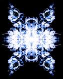 装饰花坛场 罗斯拼贴画 在黑背景的蓝色花 图库摄影