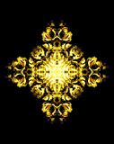 装饰花坛场 罗斯拼贴画 在黑背景的金花 免版税库存照片
