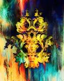 装饰花坛场 罗斯flover拼贴画 背景有色种人音乐向量 库存照片