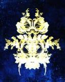 装饰花坛场 罗斯flover拼贴画 金子和蓝色颜色 免版税库存图片