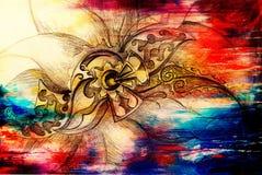 装饰花结构颜色图画  原始的手拉和计算机拼贴画 颜色结构 向量例证