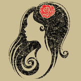 装饰花grunge纵向妇女 免版税库存图片