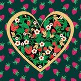 装饰草莓民间装饰品由心脏形状制成 向量例证