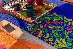 装饰被借的队伍地毯特写镜头,安提瓜岛,危地马拉 免版税图库摄影