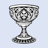 装饰觚 中世纪哥特式样式概念艺术 设计要素例证图象向量 黑色在灰色隔绝的nd白色图画 皇族释放例证