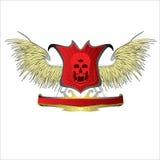 装饰设计传染媒介头骨恶魔商标 免版税库存照片