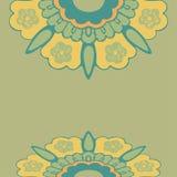 装饰边花纹花样,五颜六色的边界开花被隔绝的背景 库存照片