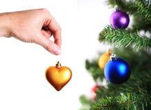 装饰金现有量重点结构树的圣诞节 库存图片