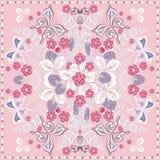 装饰颜色花卉背景、草莓和蝴蝶图案华丽鞋带框架 方巾披肩织品印刷品 向量例证