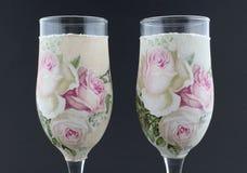 装饰香槟玻璃 免版税库存图片