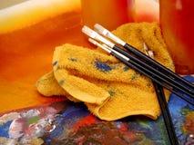 装饰绘画图画艺术家用工具加工绘画乐趣 库存照片