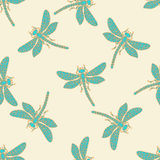 装饰蜻蜓无缝的背景 免版税库存图片