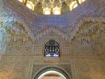 装饰-阿尔罕布拉宫殿,格拉纳达,西班牙细节  库存照片