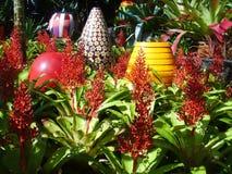 装饰Bromeliad庭院的大用花装饰的花瓶 免版税库存照片