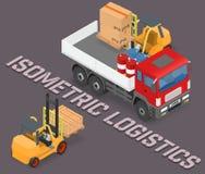 装货和卸载有铲车的卡车的过程 库存例证