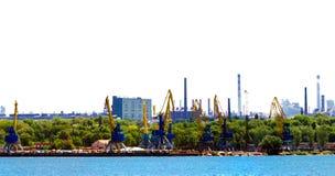 装货港口和工厂设备风景 免版税库存照片