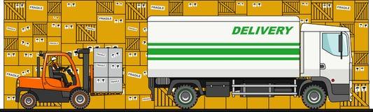 铲车装货箱子到卡车里,在白色背景的搬运车在平的样式