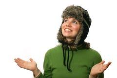 裘皮帽被排行的佩带的妇女 免版税图库摄影