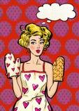 围裙和烤箱露指手套的流行艺术女孩有讲话的起泡 库存图片