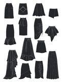 裙子剪影有非对称和折叠的 免版税库存照片
