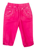 裤子,在背景的孩子裤子。 免版税图库摄影