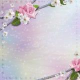 裱糊与花的背景 库存图片