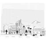 裱糊城市向量 免版税图库摄影