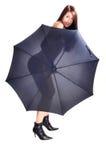 裸体开放伞妇女 免版税库存图片