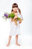 褂子的女孩有花束和女用连杉衬裤的 图库摄影
