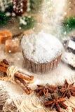 褐巧克力色杯形蛋糕用核桃、桂香和蜂蜜在圣诞节桌上 雪 复制空间 选择聚焦 库存图片