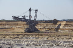 褐煤-用桶提挖掘机在露天矿Garzweiler德国 免版税库存照片