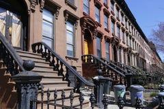 褐砂石布鲁克林,公园倾斜行格住宅 库存图片