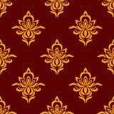 褐红和橙色无缝的花卉样式 免版税图库摄影