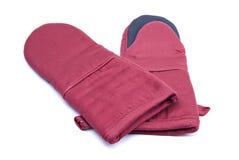 褐红的露指手套烤箱对 图库摄影