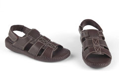 黑褐色凉鞋 免版税库存图片