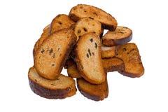 褐色接近的面包干 库存照片