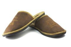 褐色查出人空白对s的拖鞋 免版税库存图片