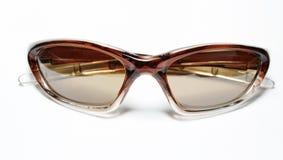 褐色查出的太阳镜 免版税图库摄影
