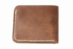 褐色查出的皮革钱包白色 图库摄影